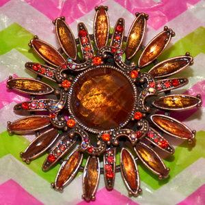 vintage 1990's rhinestone brown flower brooch pin